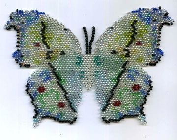 Butterfly Necklace or Pin Beaded Embroidery Pattern by zaneymay