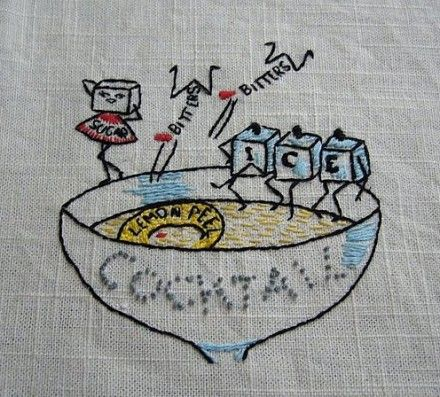 vintage cocktail embroidery
