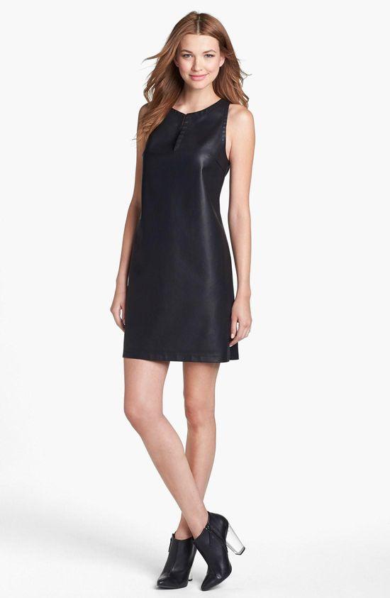 Faux leather sheath dress!