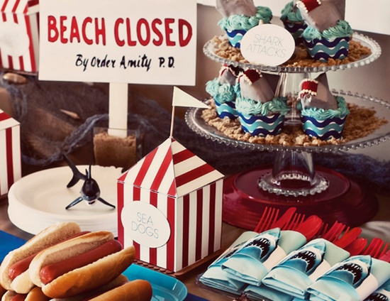 FULL PARTY SET - Summer Beach Party - Jaws Shark Attack - Printable Birthday Party Dessert Table Decor