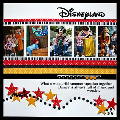 #papercraft #Scrapbook #layout #Disney    Disneyland scrapbook page