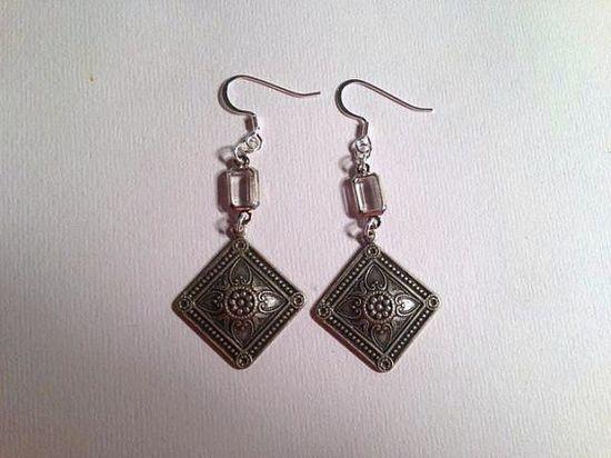 Silver Earrings Crystal Jewelry Etched Earrings Dangle by cdjali, $18.00