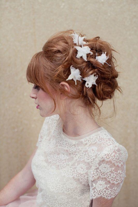 Bridal hair pins, flower hair pins, orchid, vintage hair pin, wedding head piece, Uma Ships in 1 Month. $78.00, via Etsy.