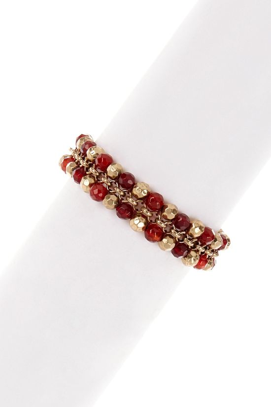 Red & Gold Beaded Bracelet.