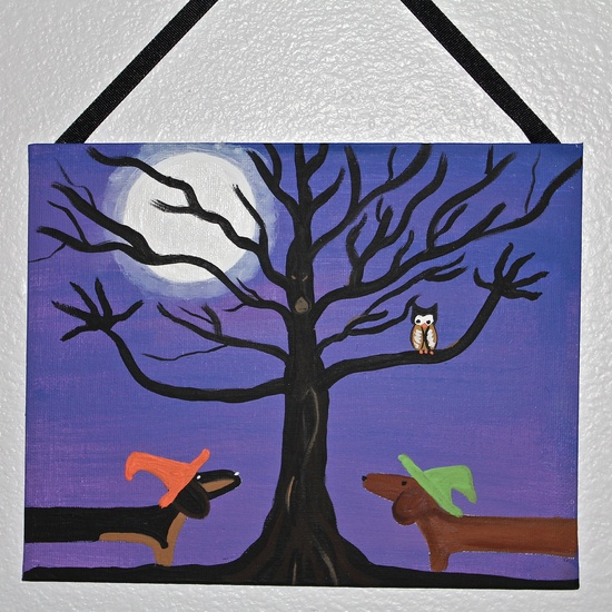 Halloween  Dachshund  Dog Art Home Decor. $18.00, via Etsy.