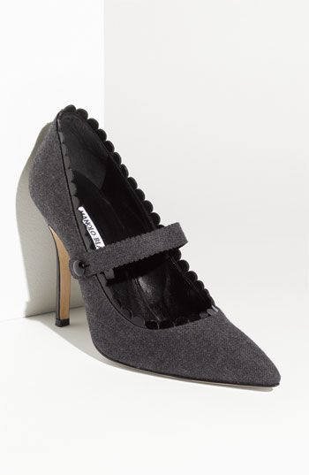 Manolo Blahnik Mary Jane Flannel pump - Always wanted a pair of MB's mary jane's and these flannel pumps make me drool!