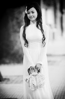Ao Dai white ,girl