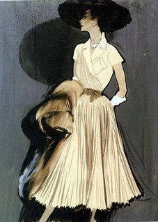 You can practically here the swish-swish of all those elegant pleats just looking at this chic fashion illustration. #vintage #fashion #1950s #illustration #dress
