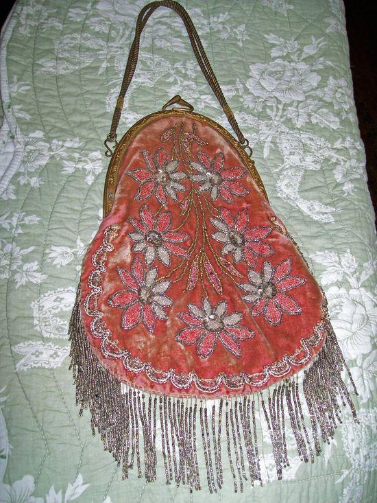 vintage pink beaded purses