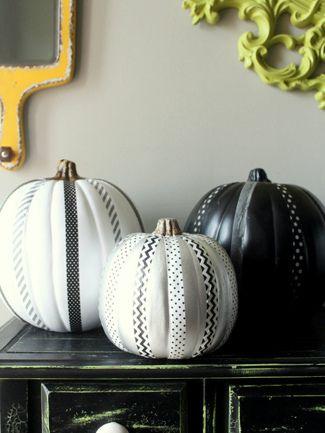 DIY washi tape pumpkin decor