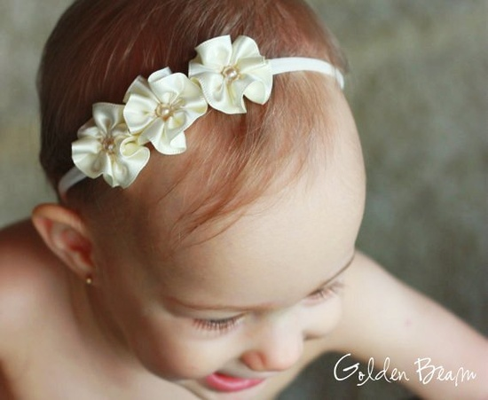 Flower Girl Headband - 3 Ivory and Pearl Flowers Handmade Headband