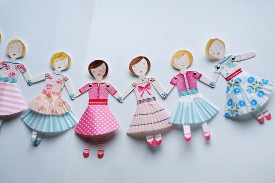 paper doll garland with muffin liner skirts