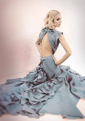 Backless, Ruffles, and an amazing blue/grey--what more could a girl want?
