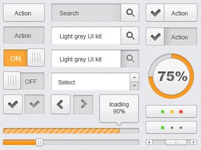 free PSD - light grey UI kit