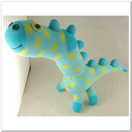 Handmade Sock Dinosaur Stuffed Animal Doll by supersockmonkeys