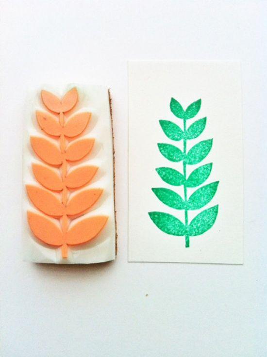 leaf hand carved rubber stamp by talktothesun