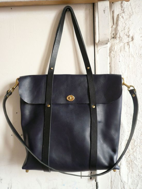 Handmade Bag - the midnight tote in black and navy by fluxproductions on Etsy