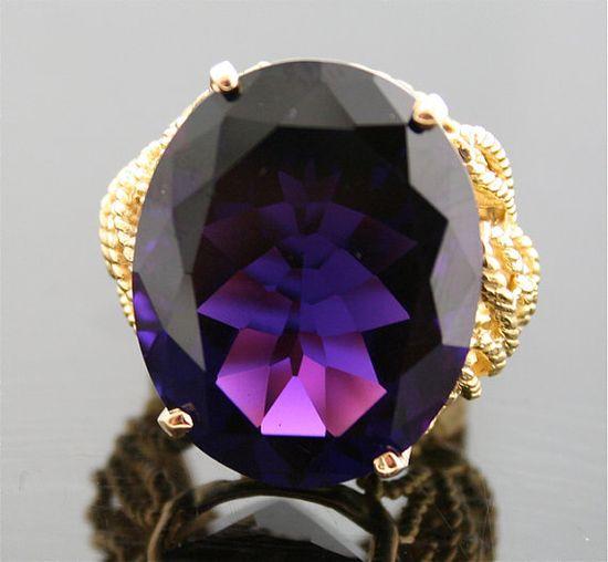 Vintage Amethyst Ring  Gem Quality Amethyst in by SITFineJewelry,