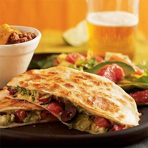 Zucchini, Olive, and Cheese Quesadillas (corn tortillas, not flour)