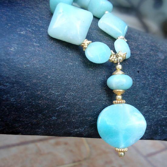 Blue Necklace Yellow Gold Jewelry Amazonite by jewelrybycarmal, $40.00