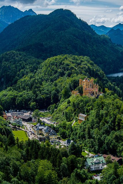 Hohenschwangau Castle and village in Bavaria, Germany