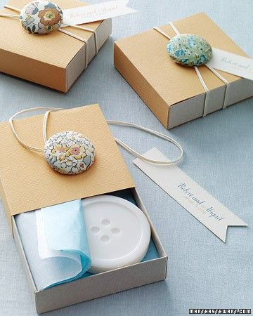 Gift Wrapping Ideas...Cute as a Button  Always at a loss when it comes to all those spare buttons lying around? Here's a solution! Add them to your gifts to create quirky, unique wrapping!