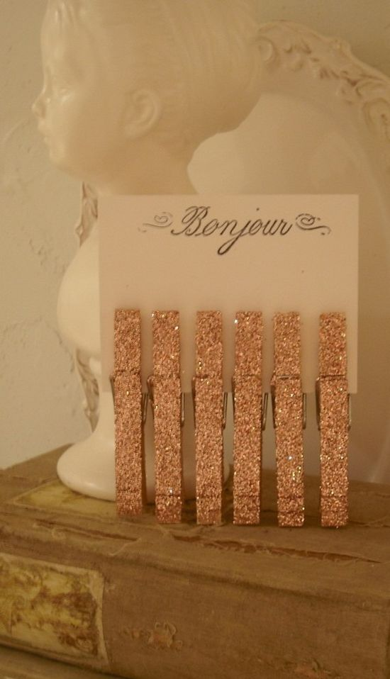 glittered clothespins...how glam.