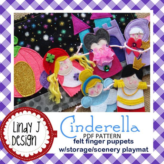 CINDERELLA Felt Finger Puppets Sewing Pattern  PDF by LindyJDesign, $6.00