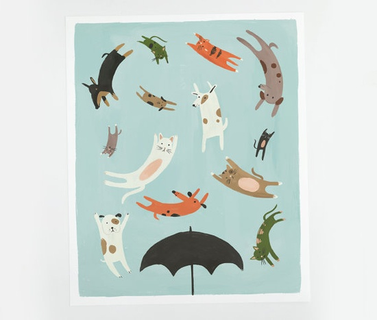 Raining Cats and Dogs Poster by QuillandFox on Etsy, $25.00
