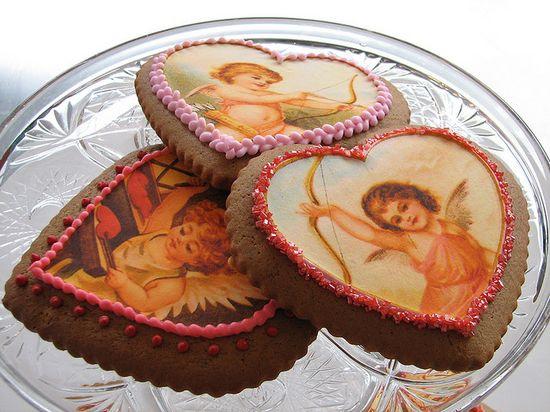 Vintage Valentine Heart Cookies