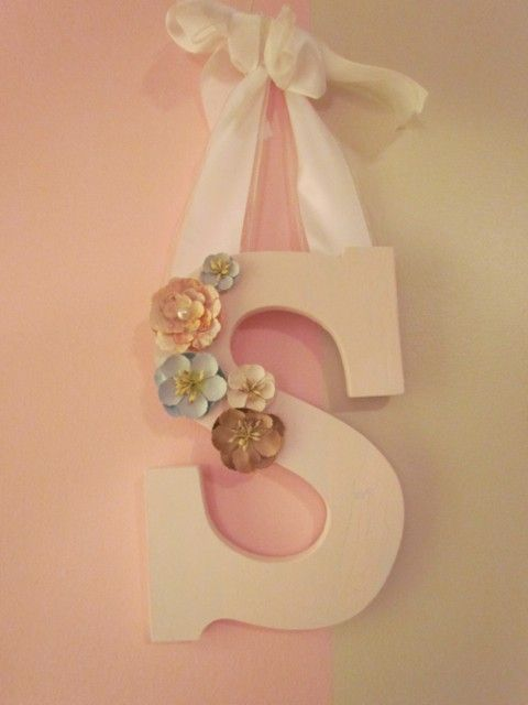 """Large wood letter """"S"""" in pale pink with paper flowers and ribbon"""