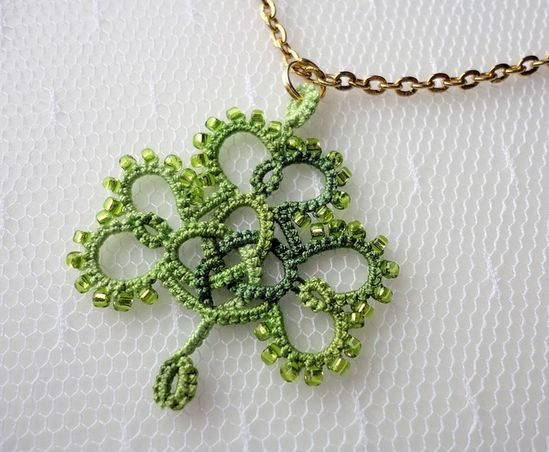 tatted Shamrock by yarnplayer, via Flickr - must learn tatting - looks painfully difficult though!