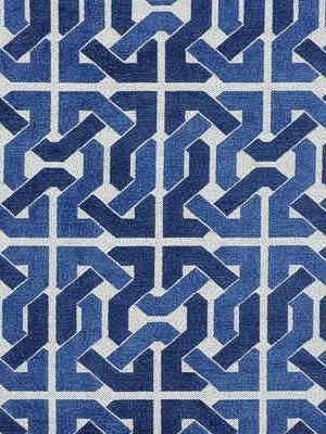Groundworks Cliffoney Blue/White $213.50 per yard #interiors #decor #bluefabrics #monochromaticdecor