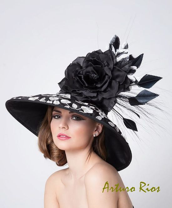 Black and white Couture Derby Hat Women's Derby Hat by ArturoRios,