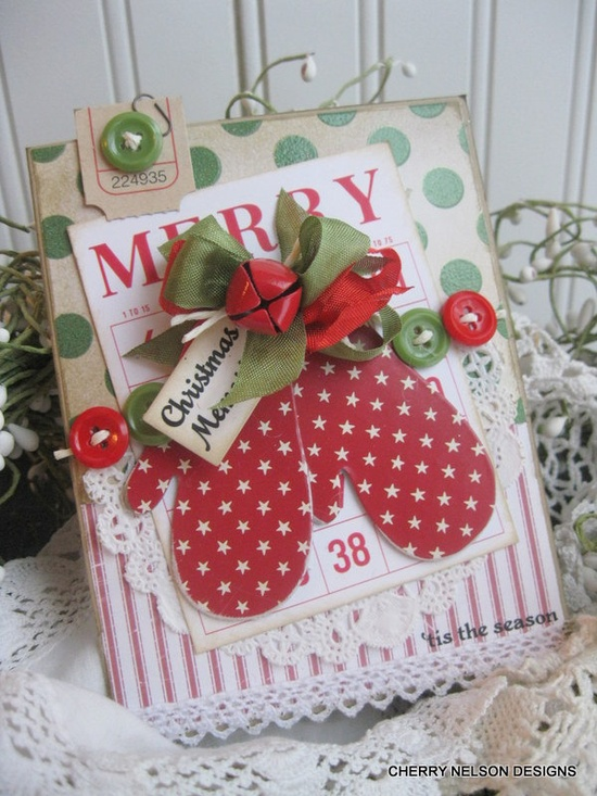 Cottage christmas mittens MERRY TIS the SEASON christmas memories handmade card. $8.50, via Etsy.