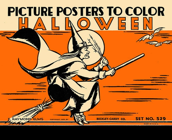 Wonderfully fun vintage set of Halloween posters that you coloured yourself. #decor #decorations #coloring #book #posters #Halloween #witch #vintage #retro