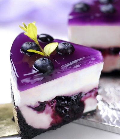 Cheesecake with blueberry glaze.