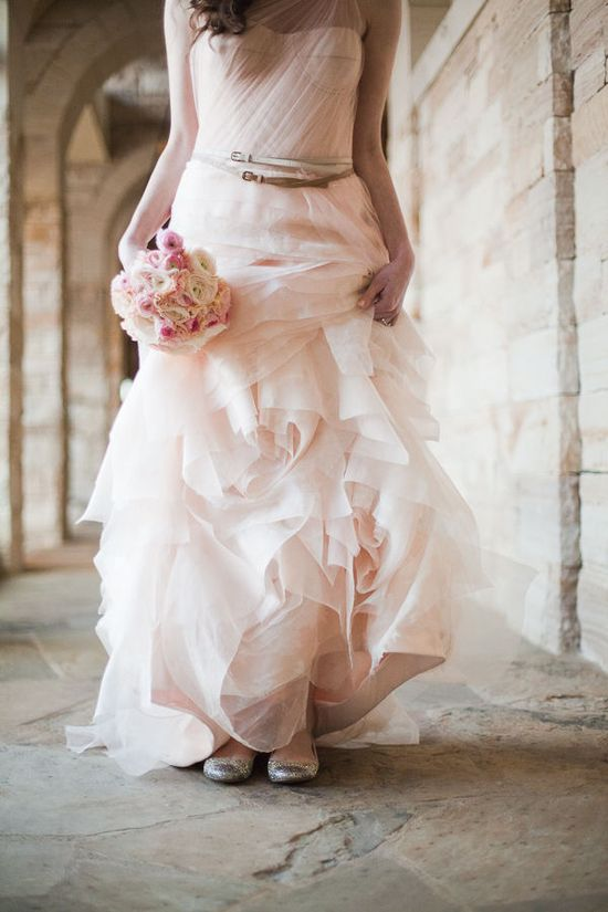 Floaty, flowy light pink wedding dress