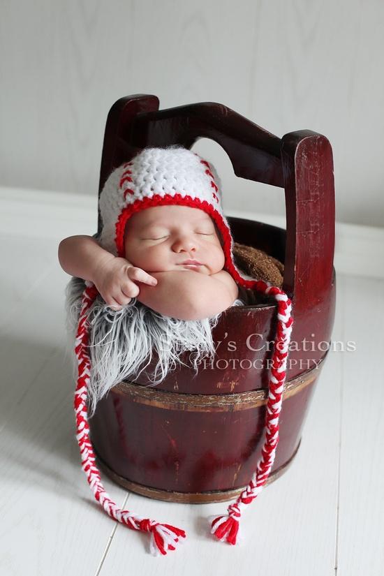 Baby Hat, Baseball Hat, Crochet Baby Hat, Boy Hat, Girl Hat, Photo Prop, Red, White, Sports. $25.00, via Etsy.