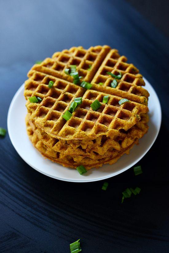 Crispy savory pumpkin cornbread waffles