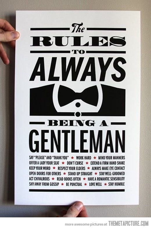 How to be a gentleman… could be cute for a little guy's room