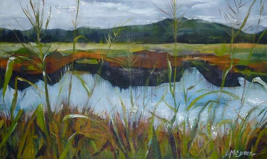 """Summer Marsh Grass Landscape Painting of Caw Caw Park Riverbank by Judy McSween of SC LowCountry on12.5"""" x 20.5"""" x 2"""" shallow wooden box"""