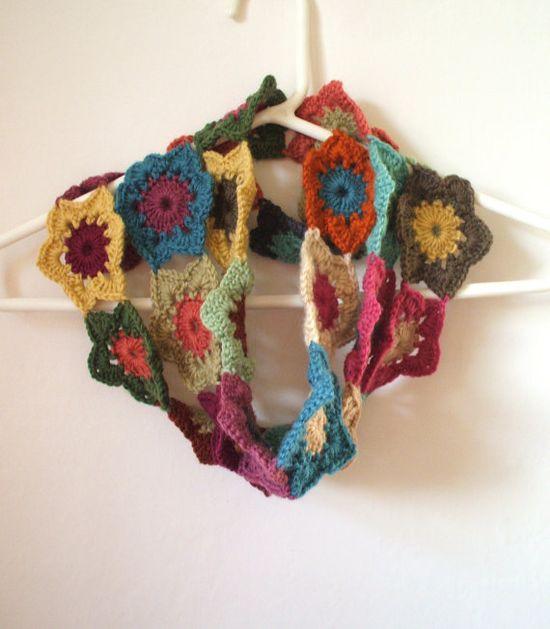 crochet scarf flower idea