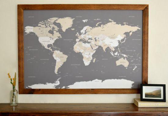 World Push Pin Travel Map in Wood Frame 24x36  by DegnodiNota, $205.00