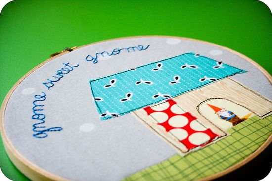 embroidery with fabric scraps.