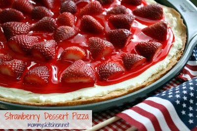 Mommys Kitchen: Strawberry Dessert Pizza {4th of July Dessert}...ladies & gents This is wicked..Sugar cookies..Cream Cheese..& Strawberries!