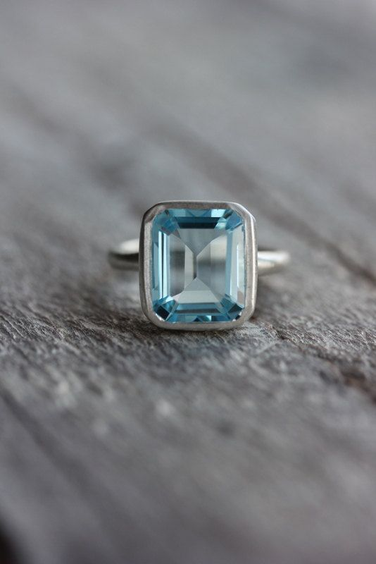 Sky Blue Topaz Emerald Cut Ring in Argentium Sterling Silver, Made To Order $238