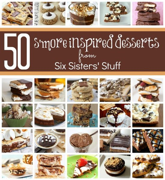 50 S'more Inspired Desserts from SixSistersStuff.com.  Drooling over all of these amazing s'more recipes! #recipes #dessert #smores