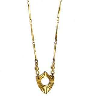 Vintage Brass Starburst Shield Necklace
