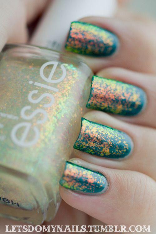 Teal Glitter Nails